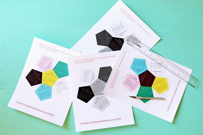 3d 2019 Calendar With Free Printable Calendar Template A Piece