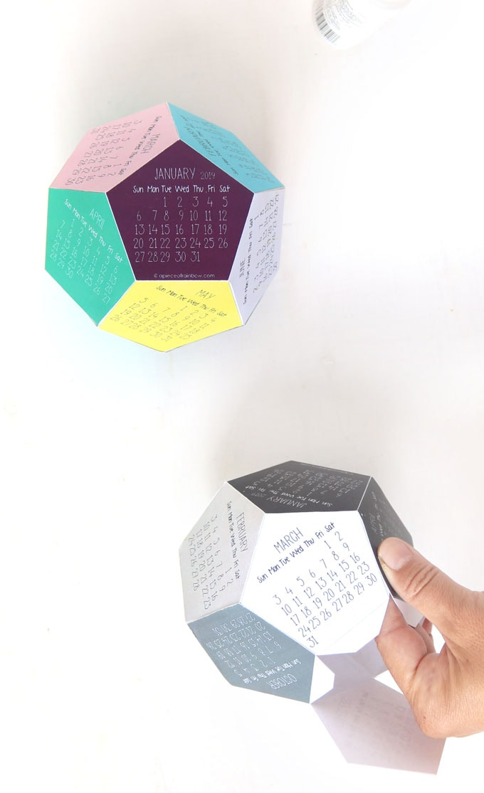gluing 3D 2020 calendar , easy paper craft idea and  desktop calendar DIY
