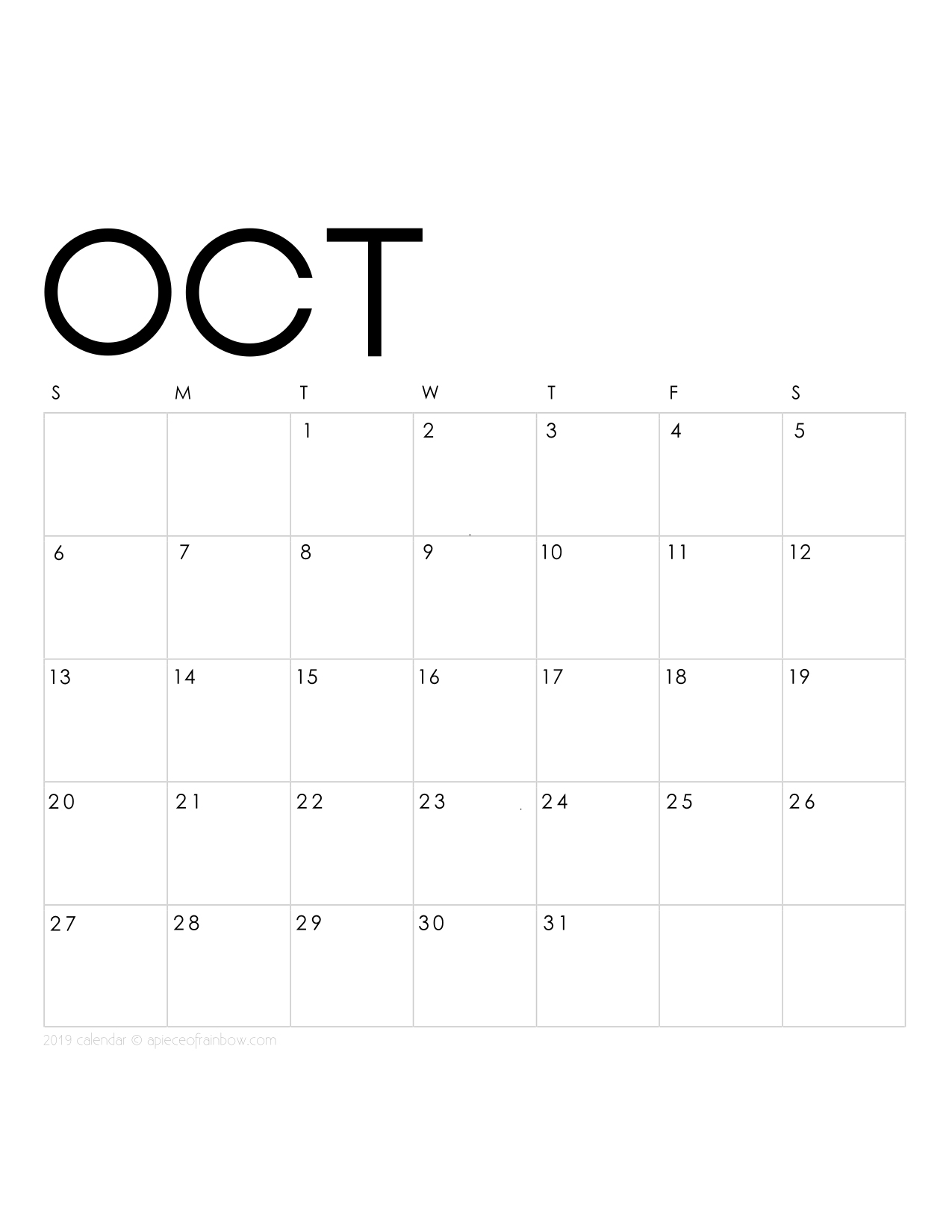 Printable October 2019 Calendar Monthly Planner {2 Designs