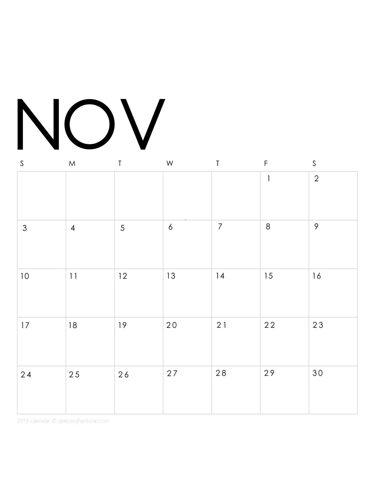 Printable November 2019 Calendar Monthly Planner 2