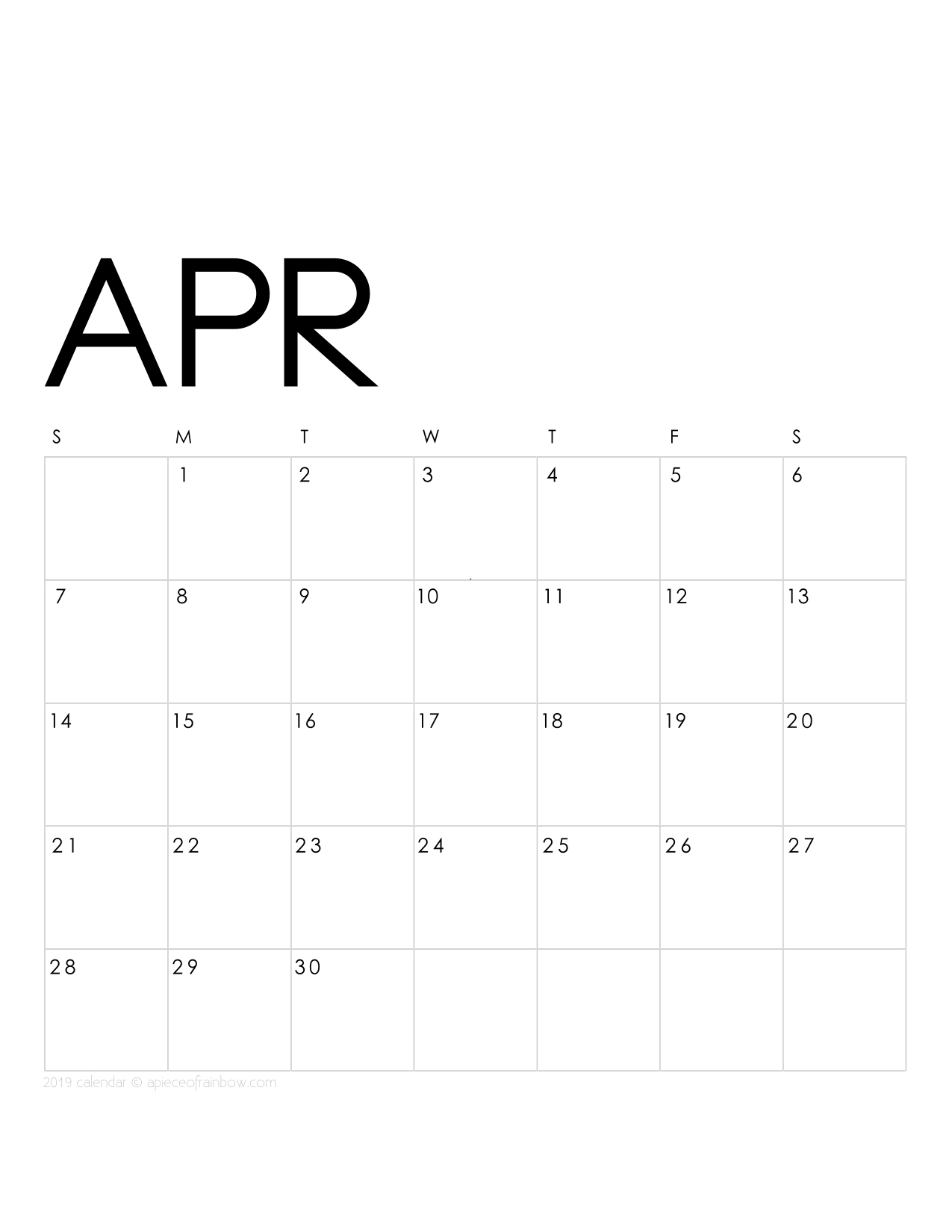 Stupendous image pertaining to april calender printable