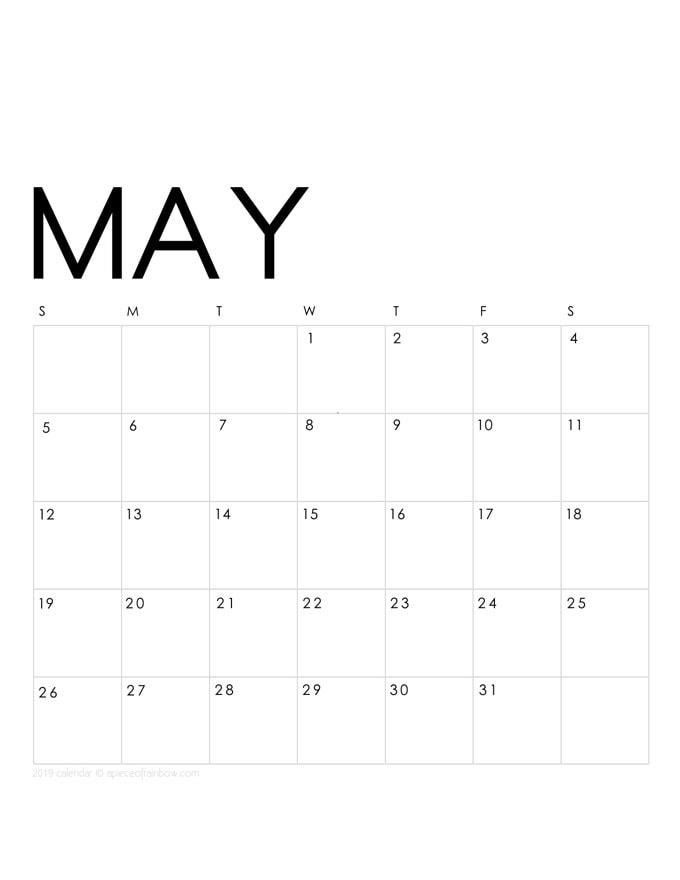 Printable May 2019 Calendar Monthly Planner {2 Designs ...