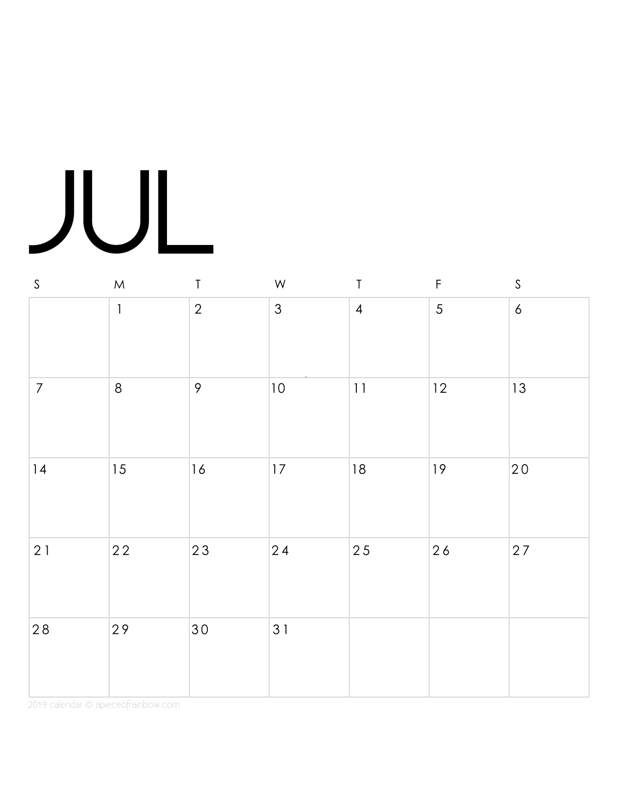 Printable July 2019 Calendar Monthly Planner {2 Designs ...