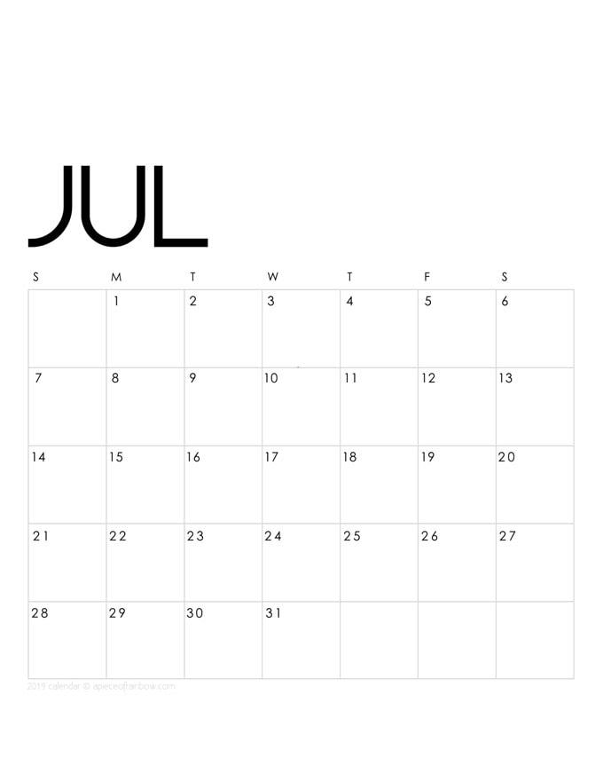 Free printable 2019 calendar