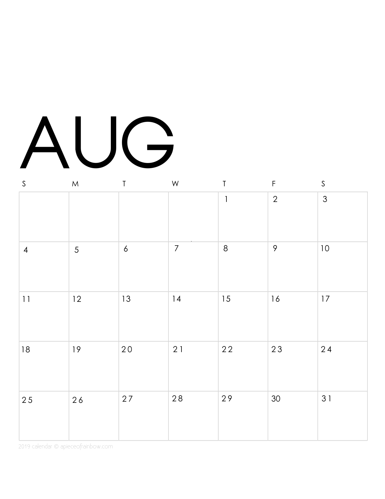 printable august 2019 calendar monthly planner  2 designs