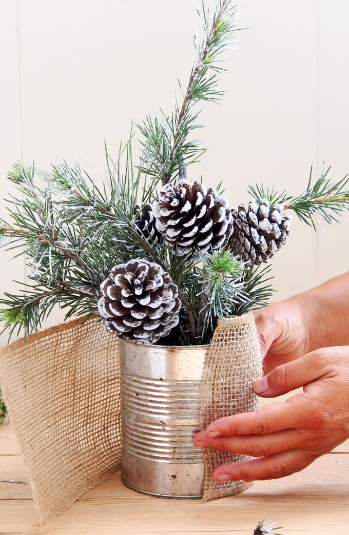 wrap burlap around tin can container with snowy tree winter & Christmas DIY table decoration
