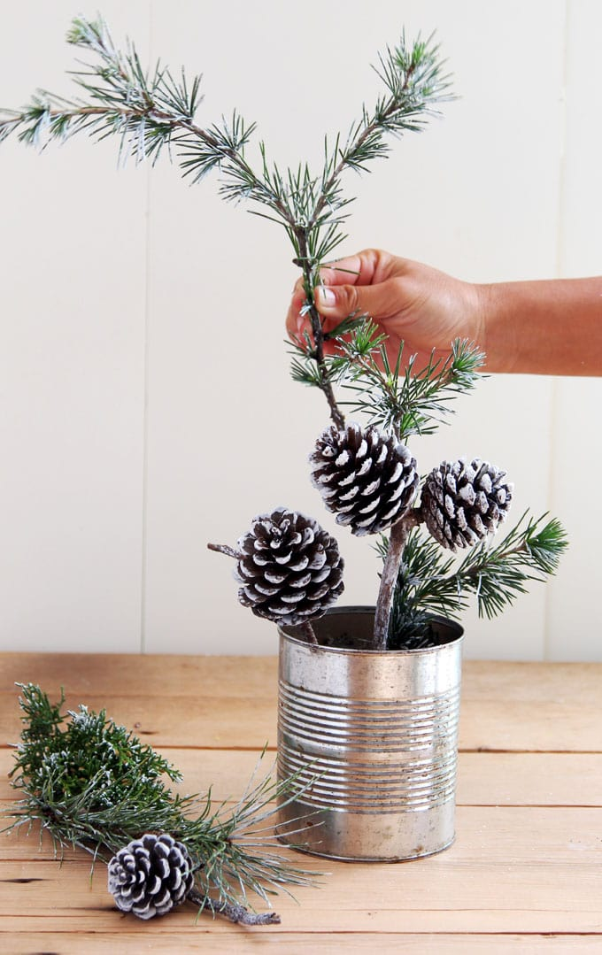 Snowy Tree Winter Christmas Diy Table Decoration In 20 Minutes A Piece Of Rainbow
