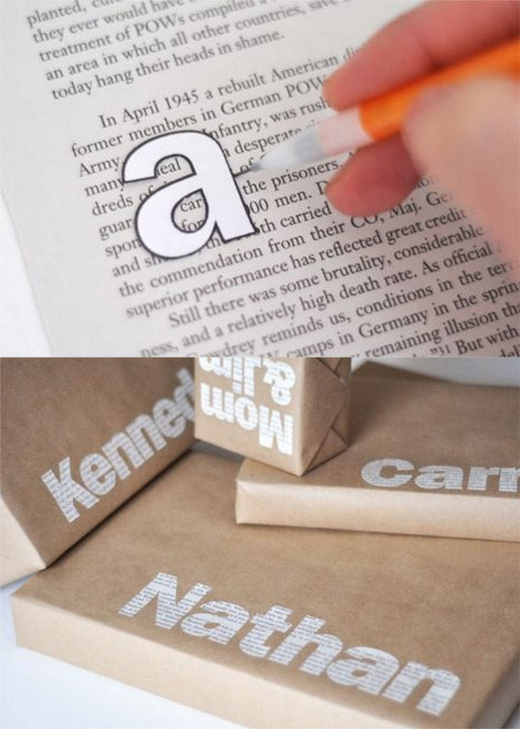 Trace and cut large letters from old book pages and make customized gift wrap with names on them.