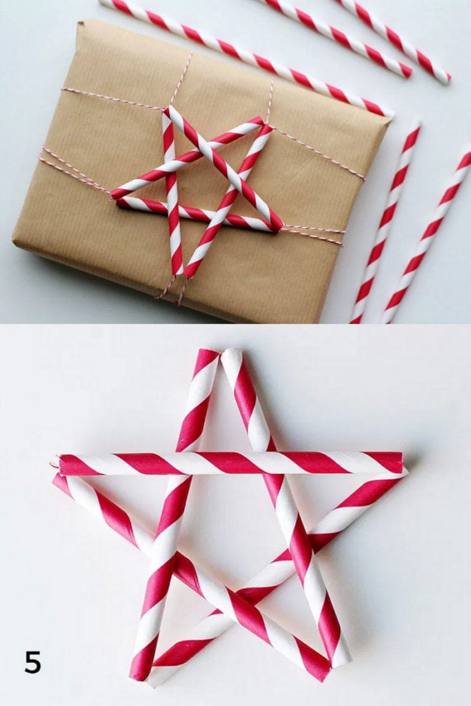 how to make festive Christmas stars from paper straws for gift wrapping