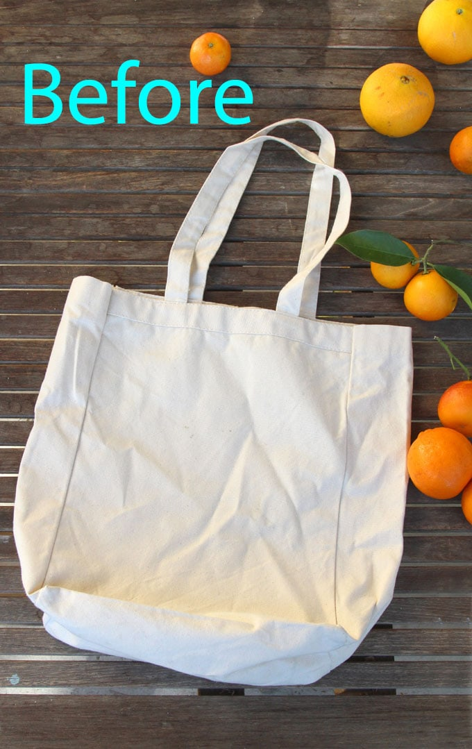 blank canvas tote bag to be transformed