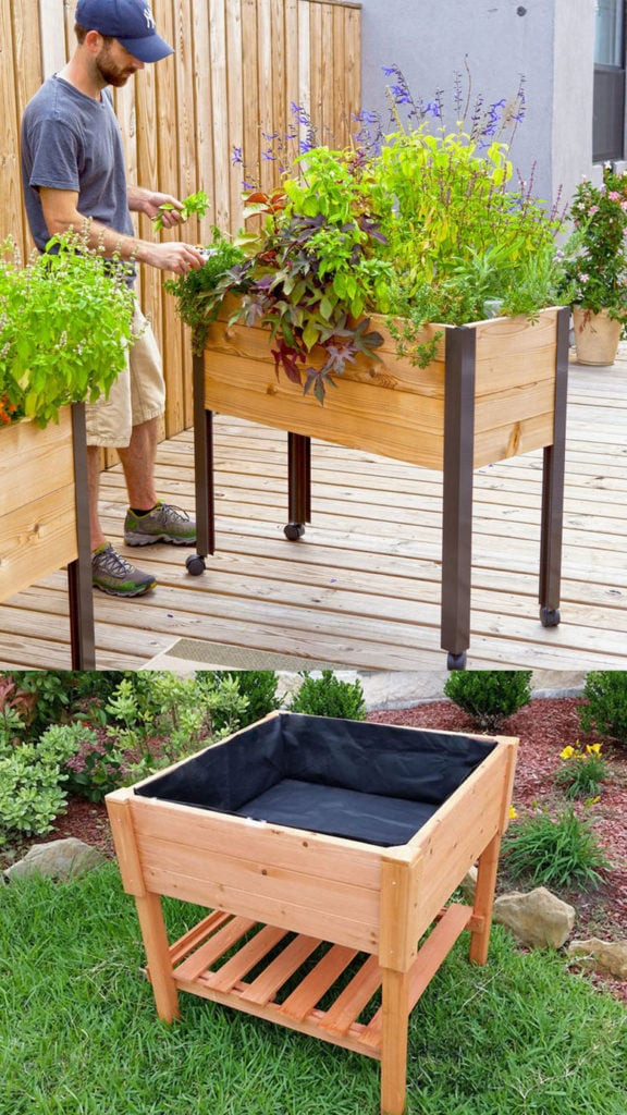 Portable raised planter boxes.
