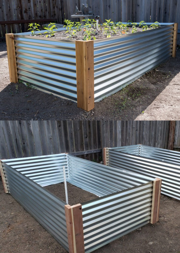 DIY galvanized metal raised bed