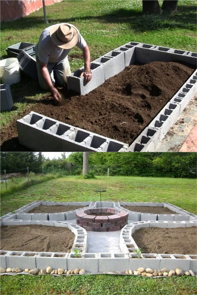 concrete CMU block raised bed designs
