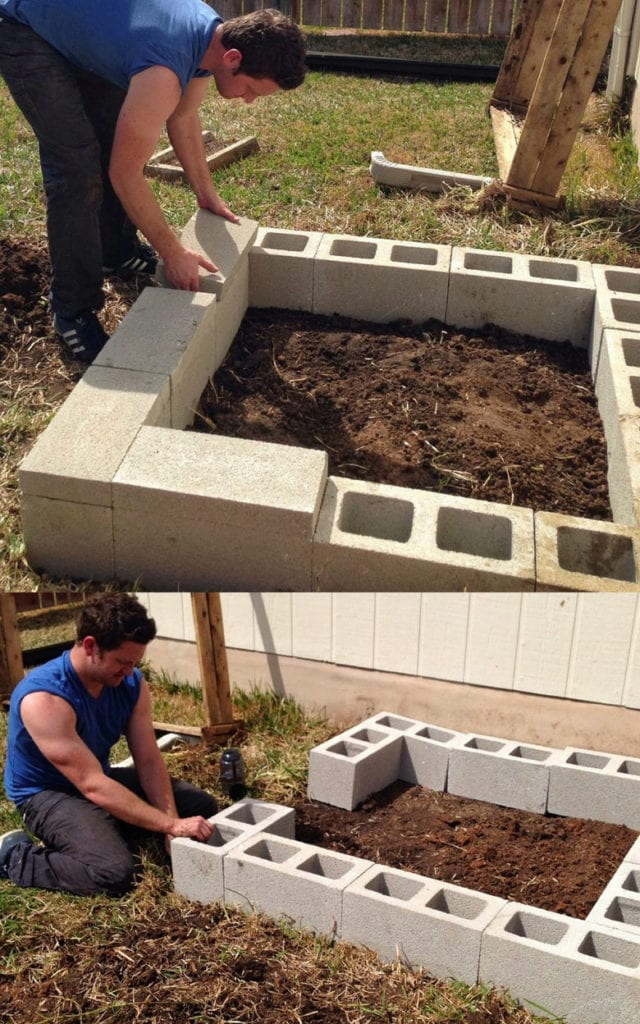 DIY concrete block raised bed garden