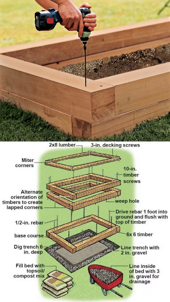 Stacked wood raised garden planter box designs