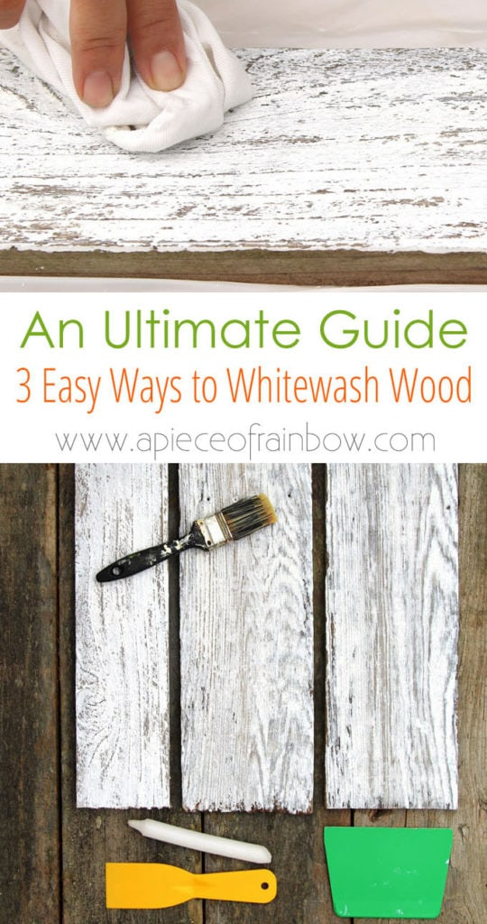 Easy tutorial & video on how to whitewash wood to create beautiful farmhouse white washed floor, shiplap wall & furniture on pine, pallet or reclaimed wood!