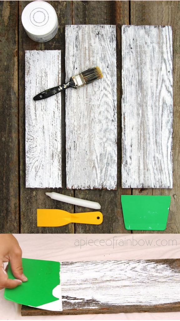 white washing reclaimed wood, vintage farmhouse style