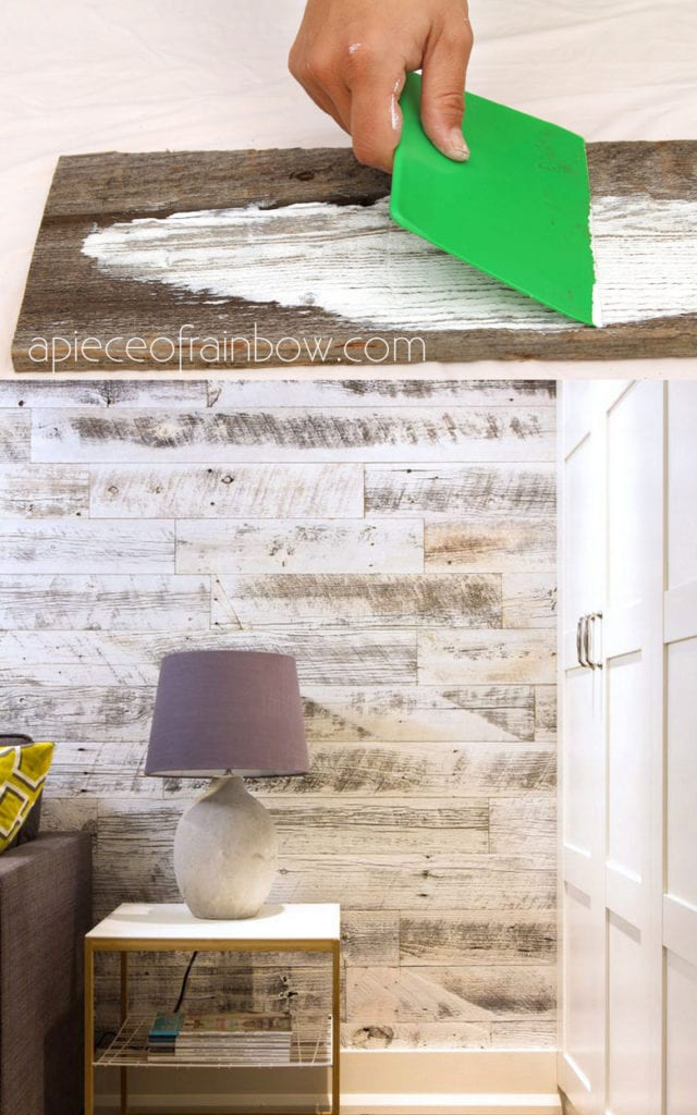 farmhouse whitewashed wood plank wall