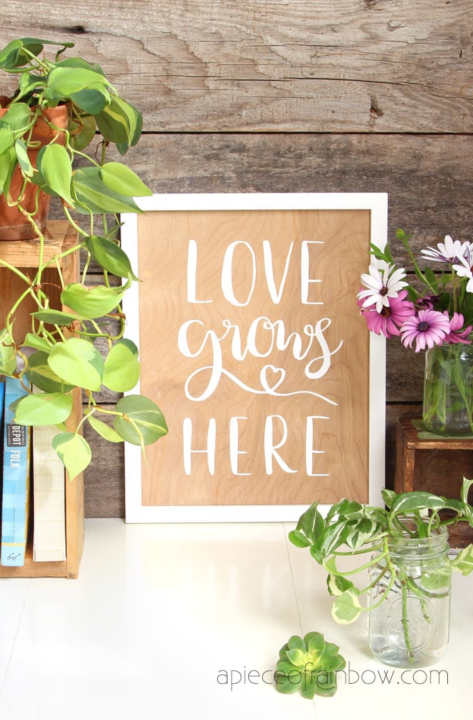 white on wood DIY wood wall art with hand lettered quote