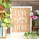 Make a double sided easy DIY wood wall art with hand lettered quotes, beautiful as farmhouse, modern glam, & bohemian home decor! Free printable designs!