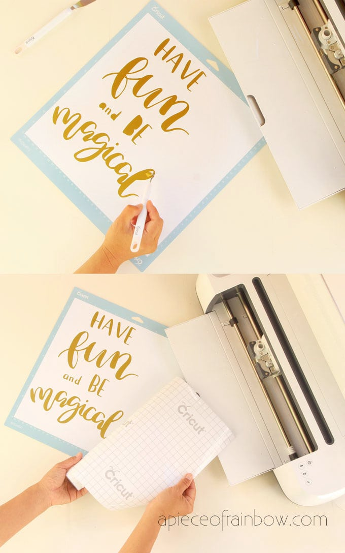 cut gold vinyl to make DIY wood wall art with hand lettered quote