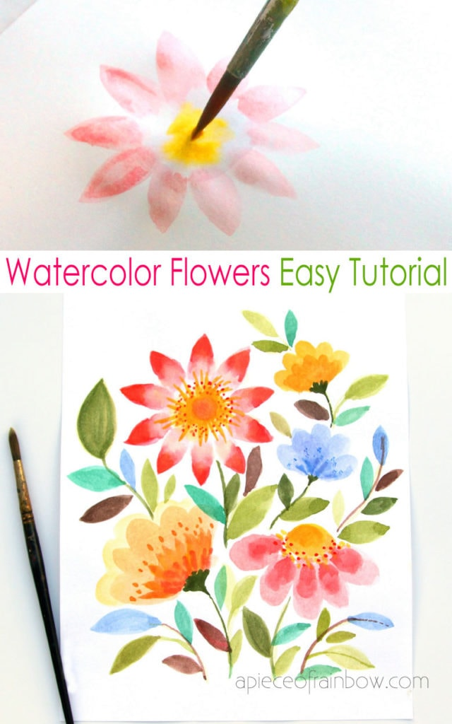 Mixed bouquet watercolor flowers tutorials
