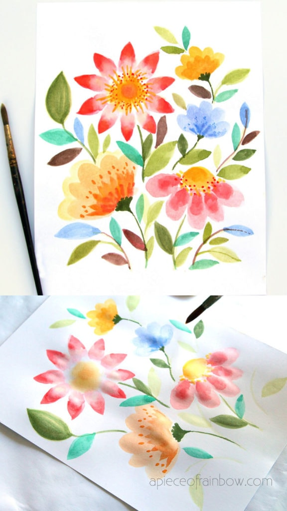 flower painting in watercolor, loose florals