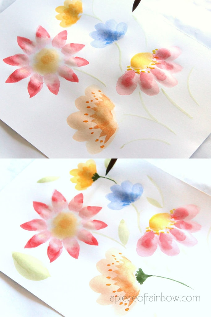 painting flowers leaves  and stems