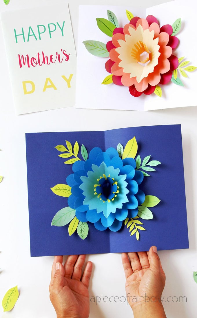 DIY Happy Mother's Day card with beautiful big pop up flower