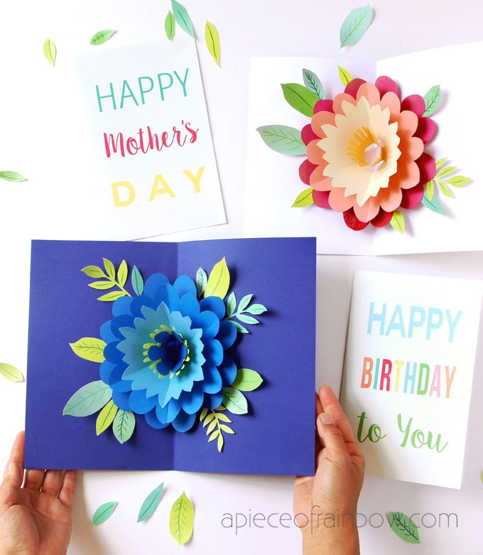 Pop Up Flowers DIY Printable Mother's Day Card - A Piece Of