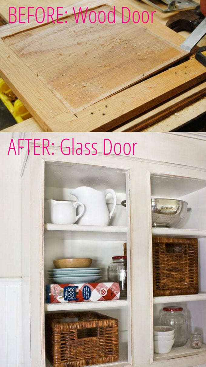 DIY dated kitchen cabinet doors to chic glass doors!