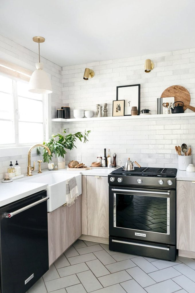 white washed wood modern farmhouse kitchen remodel