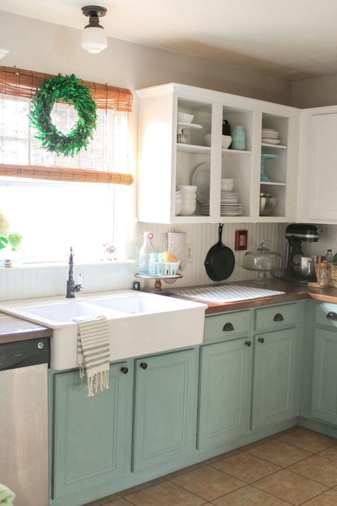 farmhouse sink, mint painted kitchen cabinets, open shelf
