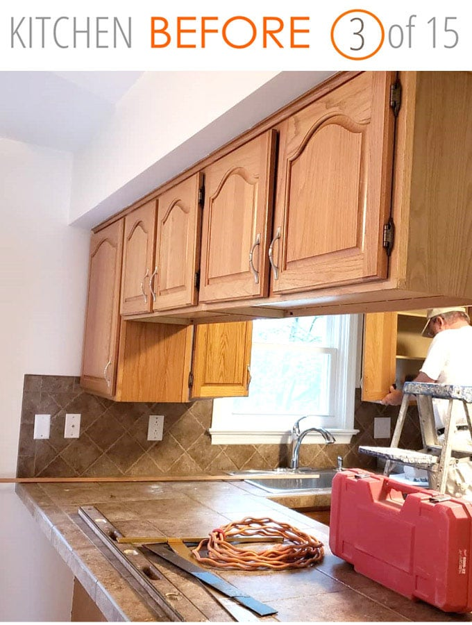 kitchen remodel ideas before: remove upper cabinets above peninsula and open up the space
