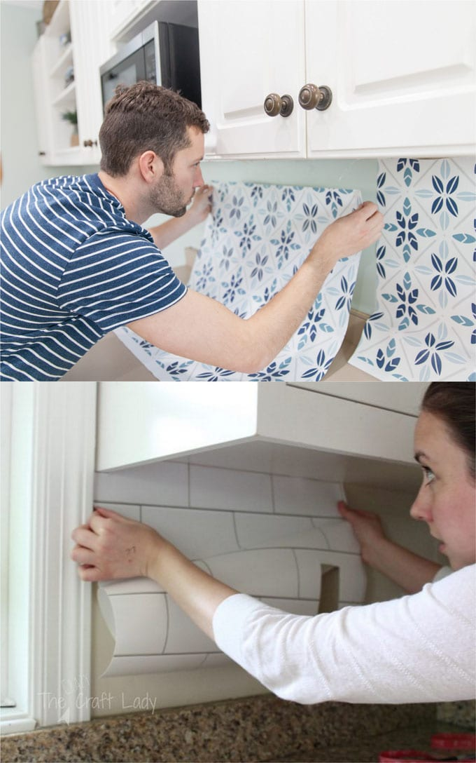 "easy DIY peel and stick ""tile"" backsplash is one of the best rental kitchen remodel ideas"