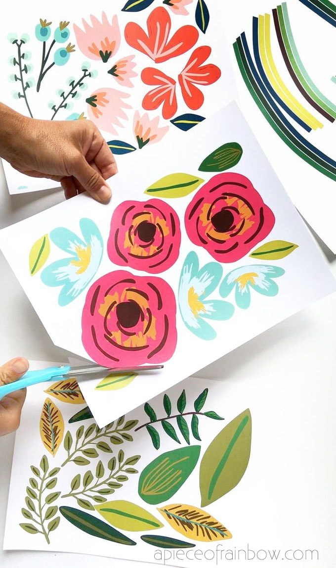 printing and cutting flowers to make large wall art