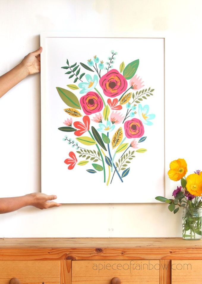 anthropologie style framed large wall art with beautiful flowers painting