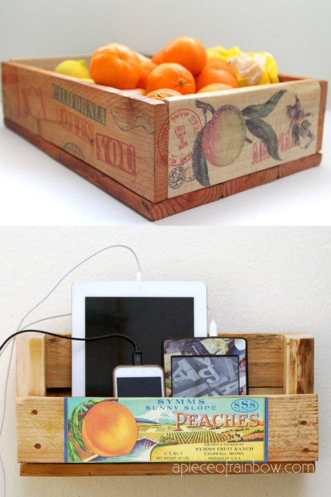 Easy DIY pallet crates and pallet charging station are great for organizing and de-cluttering!