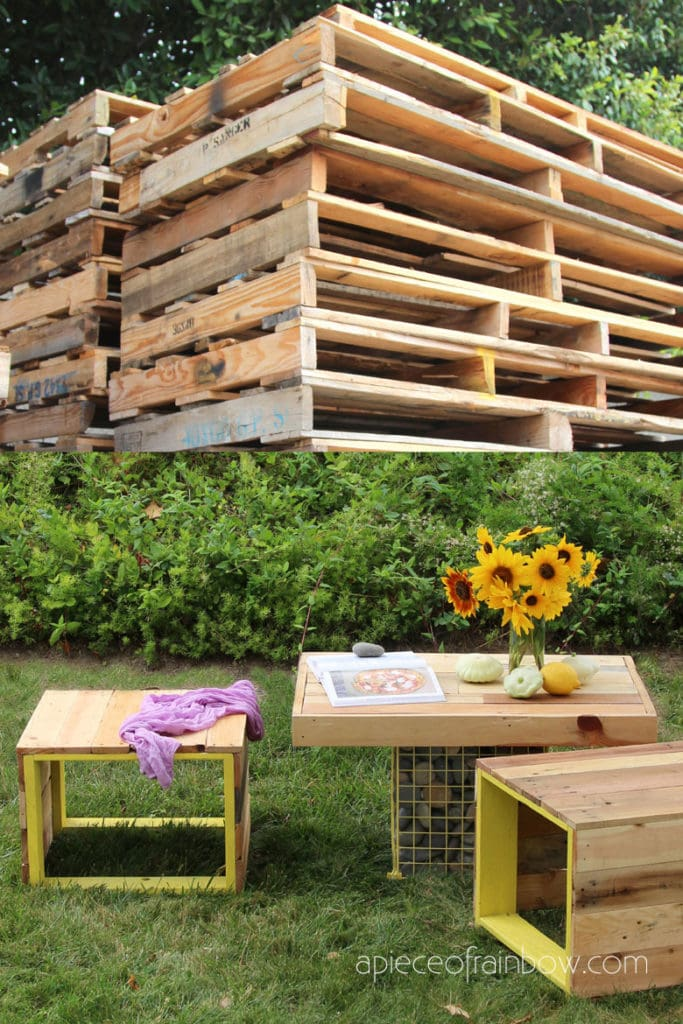 DIY pallet coffee table and bench