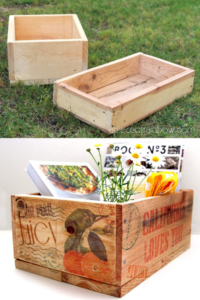 DIY pallet wood crates inspired by vintage farm orchard crates