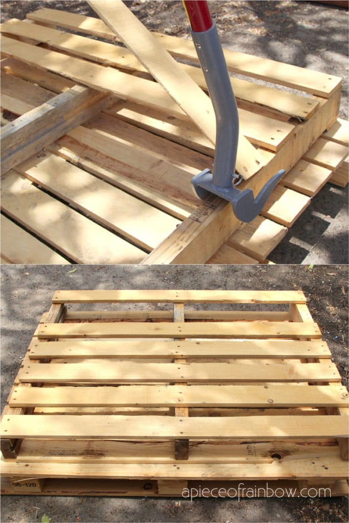 Dismantle wood pallet with a deck wrecker or pallet buster