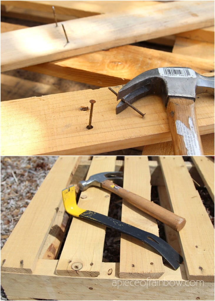 disassemble a wooden pallet with a hammer and a pry bar