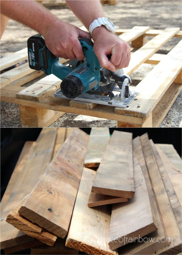 how to take apart a pallet using a saw