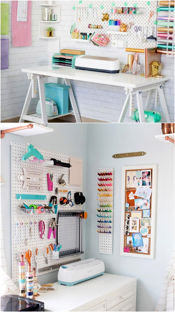 Beautifully organized craft rooms with Cricut craft supplies