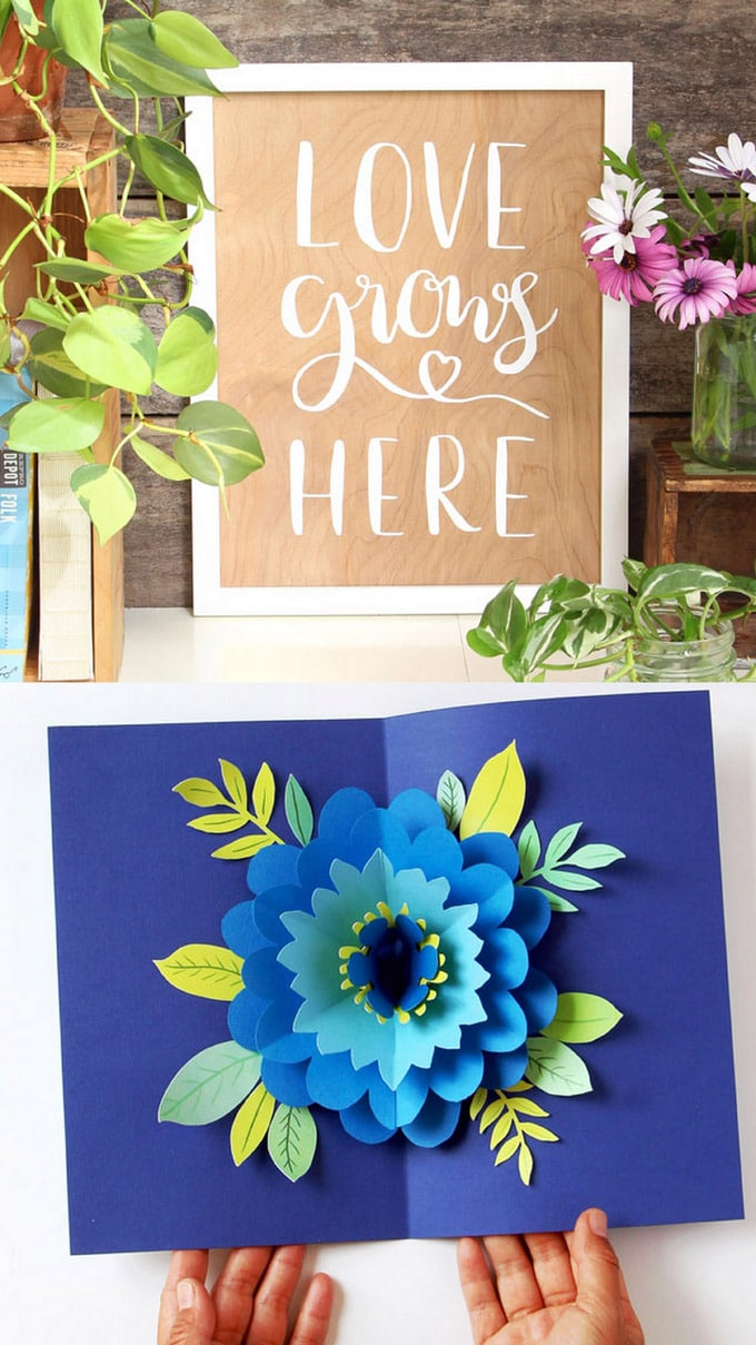 2 Cricut Maker beginner projects: a wood wall wrt and a pop-up flower card