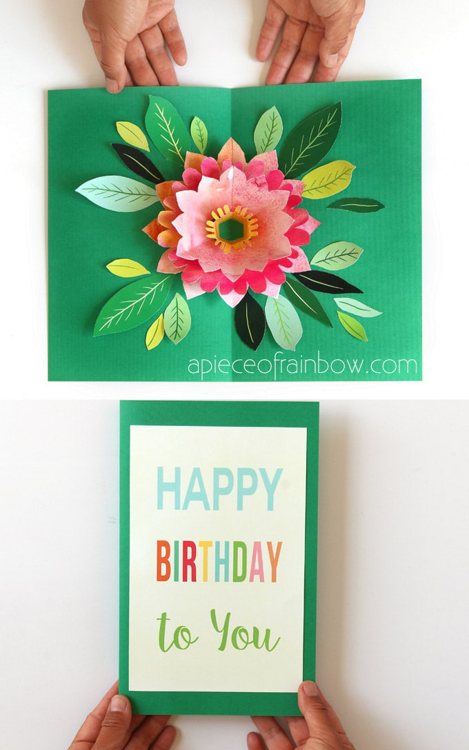 Surprising Make A Birthday Card With Pop Up Watercolor Flower Free Designs Personalised Birthday Cards Veneteletsinfo