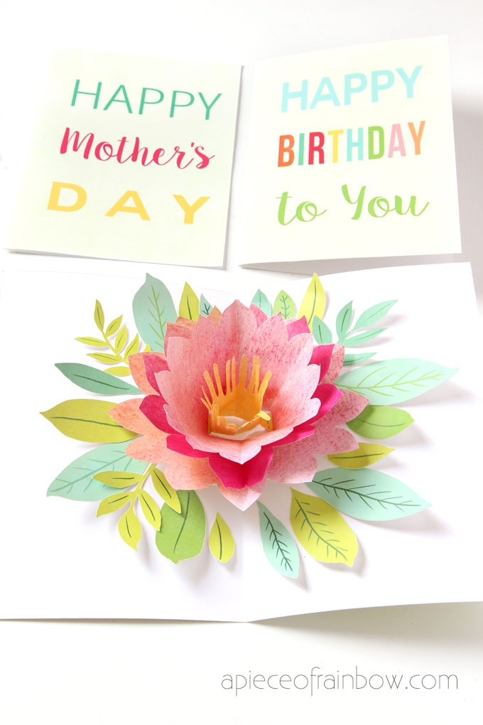 pink birthday card with beautiful pop up flower
