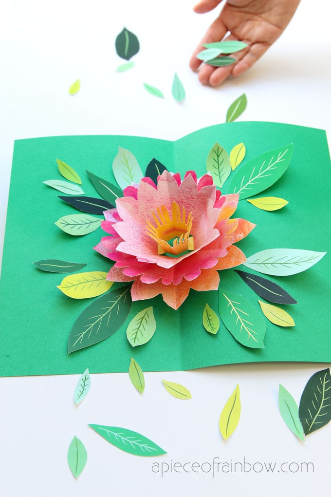 Make a birthday card in 30 minutes with a handmade pop up watercolor flower and paper cut leaves