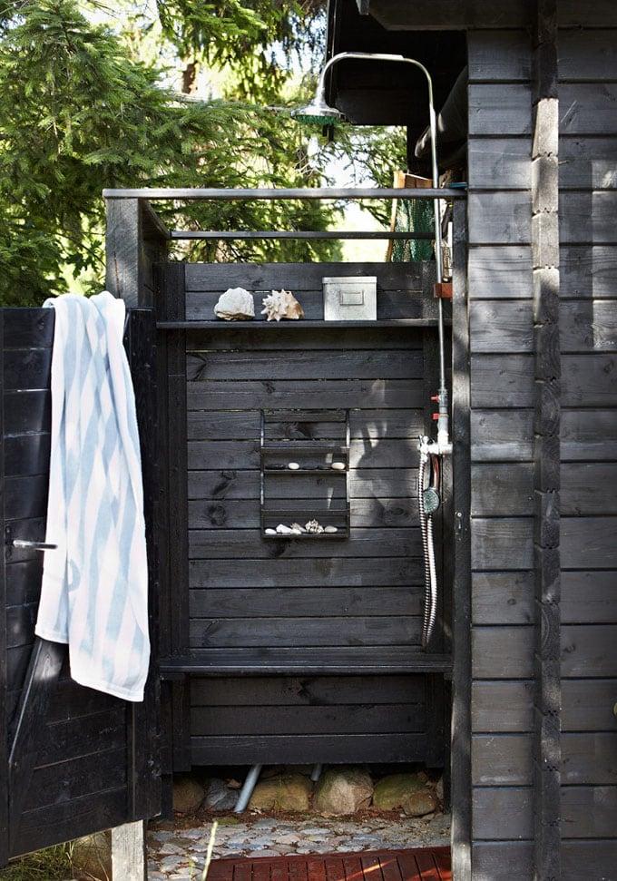 Stylish black outdoor shower
