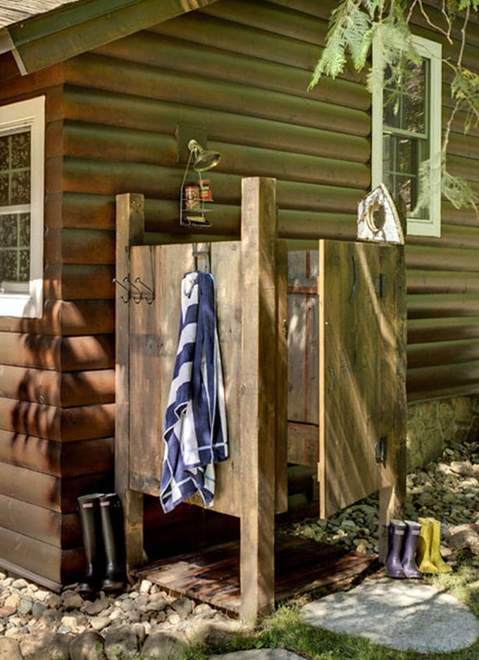 Wood cabin shower